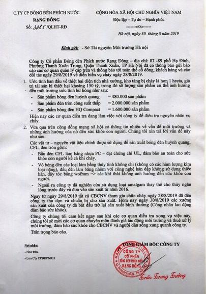 Văn bản phát đi ngày 30/8 của Rạng Đông, nói về việc đã thay thế thủy ngân lỏng bằng amalgam